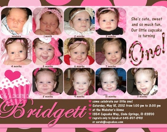 Cupcake First Birthday Invitations 12 Photos Pink Brown Polka Dot Customizable Printable 5x7 or 4x6