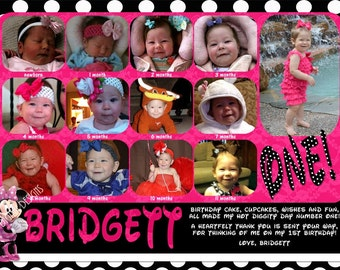 Minnie Mouse First Year Photos Thank You Polka Dot Hot Pink Customizable Printable 5x7 or 4x6