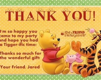 Winnie the Pooh Thank You Card Photo Option Customizable Printable
