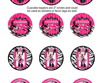 "Minnie Mouse Cupcake Toppers 2"" Hot Pink and Zebra Birthday Favor Tags Stickers Printable Customizable"