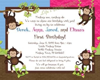 "Monkey Birthday Invitations for Quadruplets Customizable Printable 6x7.5"" Costco Size"