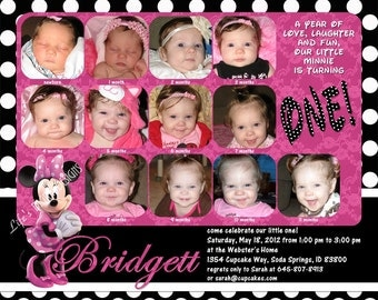 """Minnie Mouse First Birthday Invitations 12 Photos Pink Polka Dots Customizable Printable 6x7.5"""" Costco Size"""