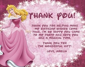 Disney Princess Thank You Card with 7 Princess Options Photo Option Customizable Printable