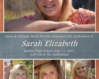 Graduation Announcement or Invitation Photo Collage Customizable Printable