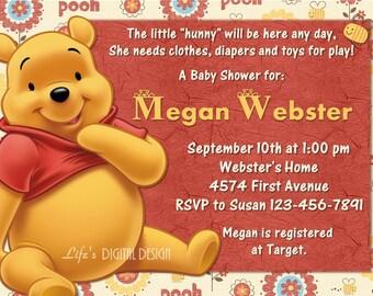 Winnie the Pooh Baby Shower Invitation Customizable Printable
