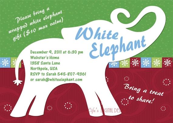 White Elephant Party Invitation Customizable Printable 4x6 Or