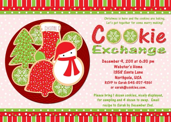Cookie Exchange Party Invitation Customizable Printable 4x6 Or