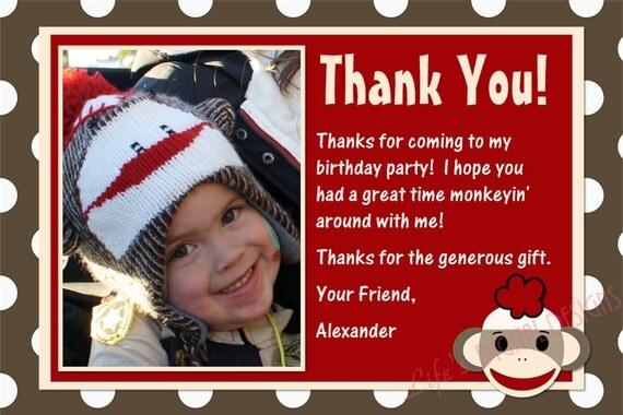 Sock Monkey Thank You Card Brown Red Photo Option - Customizable Printable