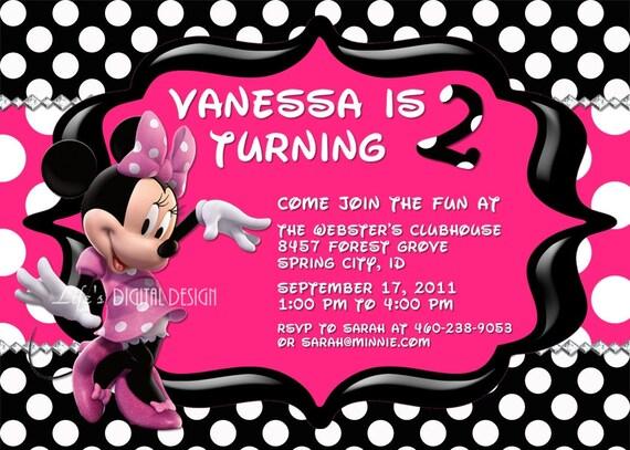 Minnie Mouse Invitations Birthday Hot Pink Polka Dot Photo Option Customizable Printable