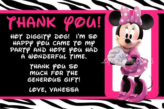 Minnie Mouse Thank You Card Zebra Print Hot Pink with Photo Option Customizable Printable