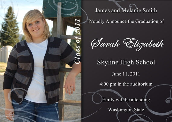 Graduation Announcement or Invitation Photo Customizable Printable Any Color