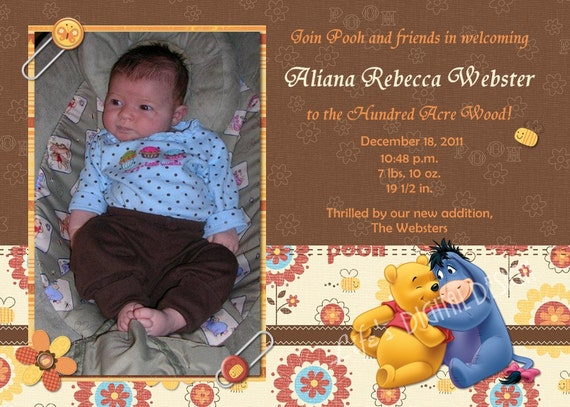 Winnie the Pooh Photo Birth Announcement Customizable Printable