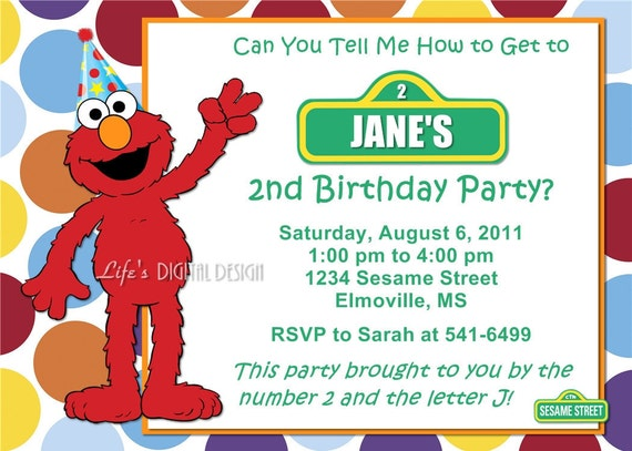 Elmo Sesame Street Birthday Invitation Dots with Photo and Background Options Customizable Printable