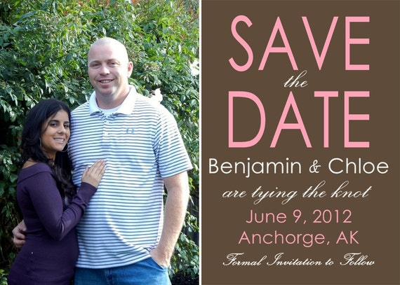Save the Date Photo Card Any Background or Font Colors Customizable Printable