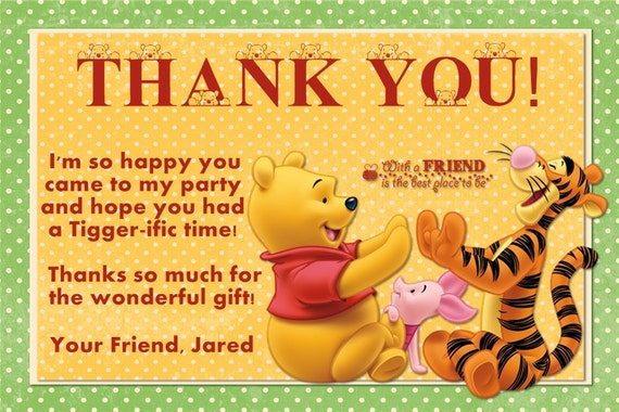 Winnie the Pooh Thank You Card Photo Option Customizable Printable