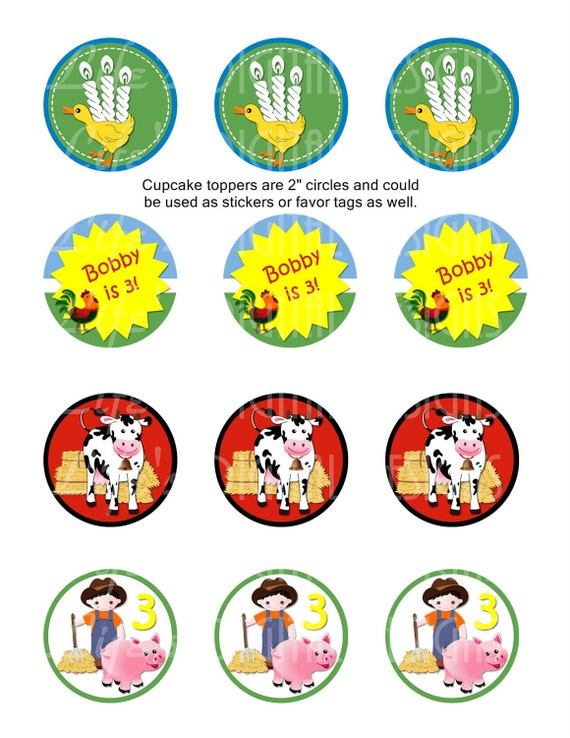 "Farm Animal Cupcake Toppers 2"" Birthday Favor Tags Stickers Printable Customizable"