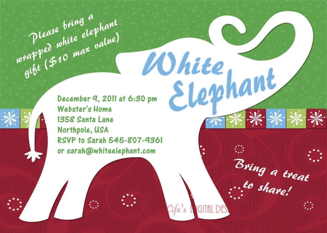White Elephant Party Invitation Customizable Printable 4x6 or – Elephant Party Invitations