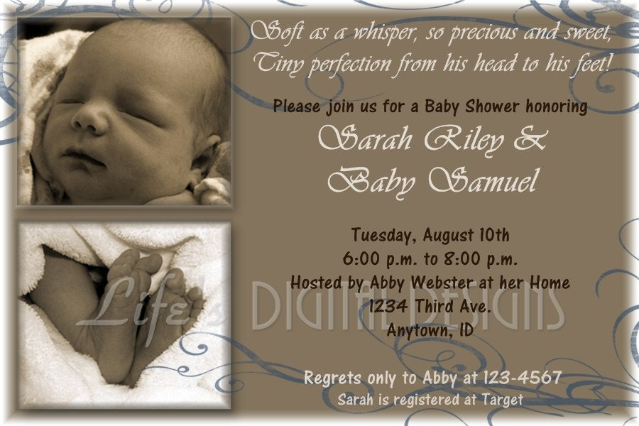 photo baby shower invitation or announcement brown blue
