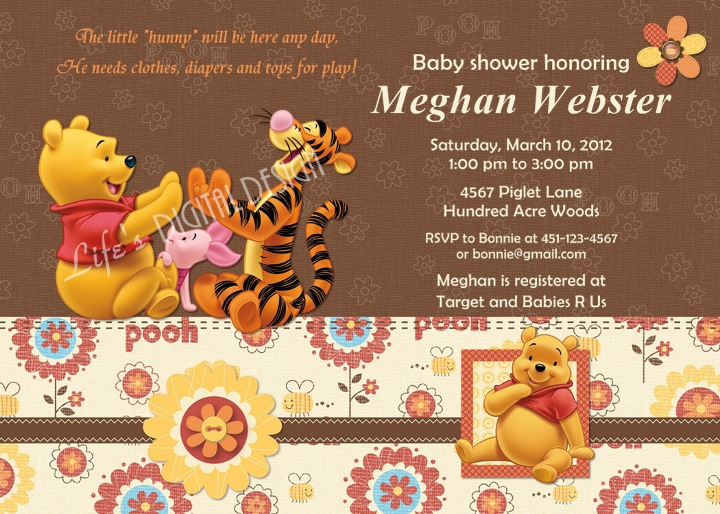 winnie the pooh baby shower invitation photo customizable