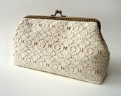 Vintage bridal clutch - Natural Organic Cotton Lace Clutch with across body chain - Original Leela clutch - One left
