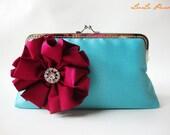 Bridesmaid gifts / Evening handbag-Turquoise Silk Clutch Purse with Red Silk Precious Pleats Flower Brooch - Handle strap