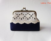 Holliday Gift Under 30  - Lace and Navy Blue Mini Wallet Coin Purse - Ready to ship