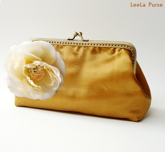 Golden Silk Clutch Purse with Removable Flower Pin