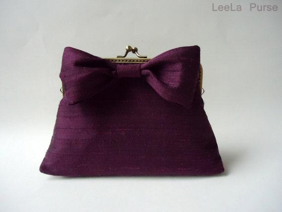 Customized purse - Deep Purple Plum Silk Bow Clutch / Purse / Wedding / Bridesmaid Gifts / Bag / Handbag with Accross body Chain Strap