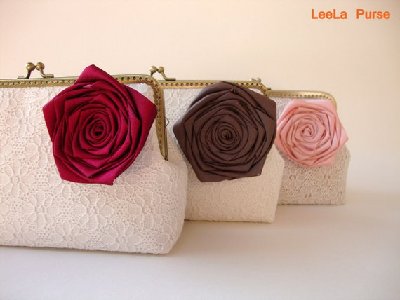 Custom bridesmaid gift with Set of 3 botanical Clutches