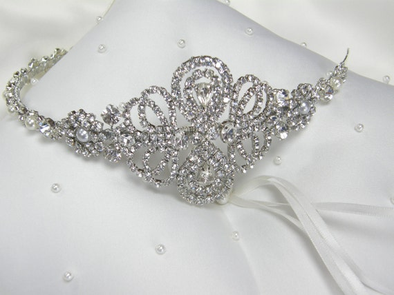 Couture Vintage style scrolled bridal side tiara with rhinestones diamante and pearls around entire band