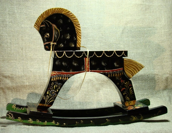 Black horse - painted by hand vintage wooden rocking horse
