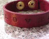 "3/4"" Personalized Custom Leather Bracelet Cuff"