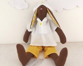 Rabbit Doll Bunny Brown Yellow White