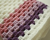 Crochet Baby Blanket / Afghan, White Purple Granny Square, Gift