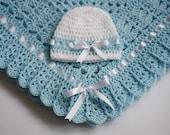 Crochet Baby Blanket / Afghan and Hat  Blue White Christening, Baptism, Baby Granny Square Crochet Blanket, gift