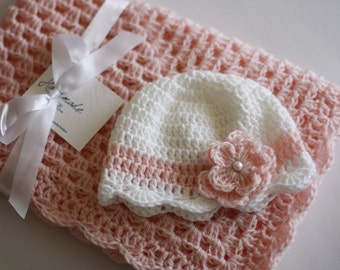Crochet Baby Blanket / Afghan and Hat, Pink White Granny Square Baby Shower Gift