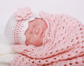 Crochet Baby Blanket / Afghan , Pink with White Granny Square Crochet Blanket and Hat , Baby Shower Gift