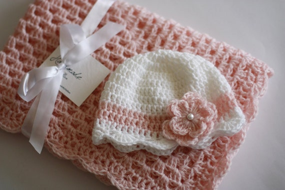 Crochet Baby Blanket / Afghan and Hat, Pink White Granny Square Baby Girl Shower Gift