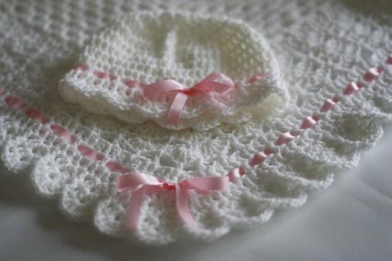 Crochet Baby Blanket / Afghan and Hat White Christening, Baptism, Baby Granny Square Crochet Blanket, gift