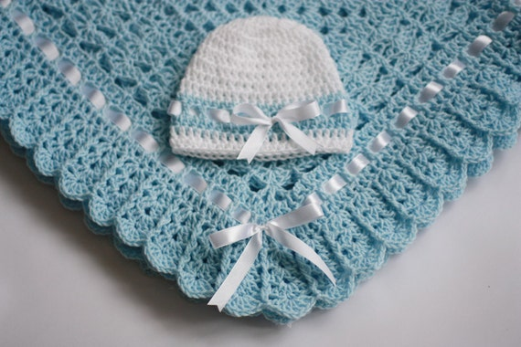 Crochet Baby Blanket Afghan And Hat Blue By