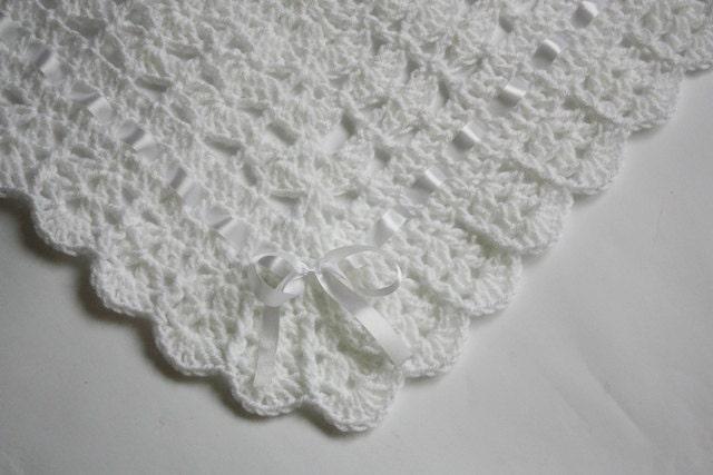 Crochet Baby Blanket Pattern Etsy : Crochet Baby Blanket / Afghan White by HandmadeByHallien ...