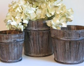 Set of 3 round white washed pots centerpiece, elegant decor for wedding, showers, home or yard