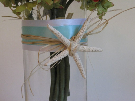 Custom Listing for Emily Kelly- Set of 24 beach inspired glass vase centerpieces with starfish, shells and ribbon for weddings