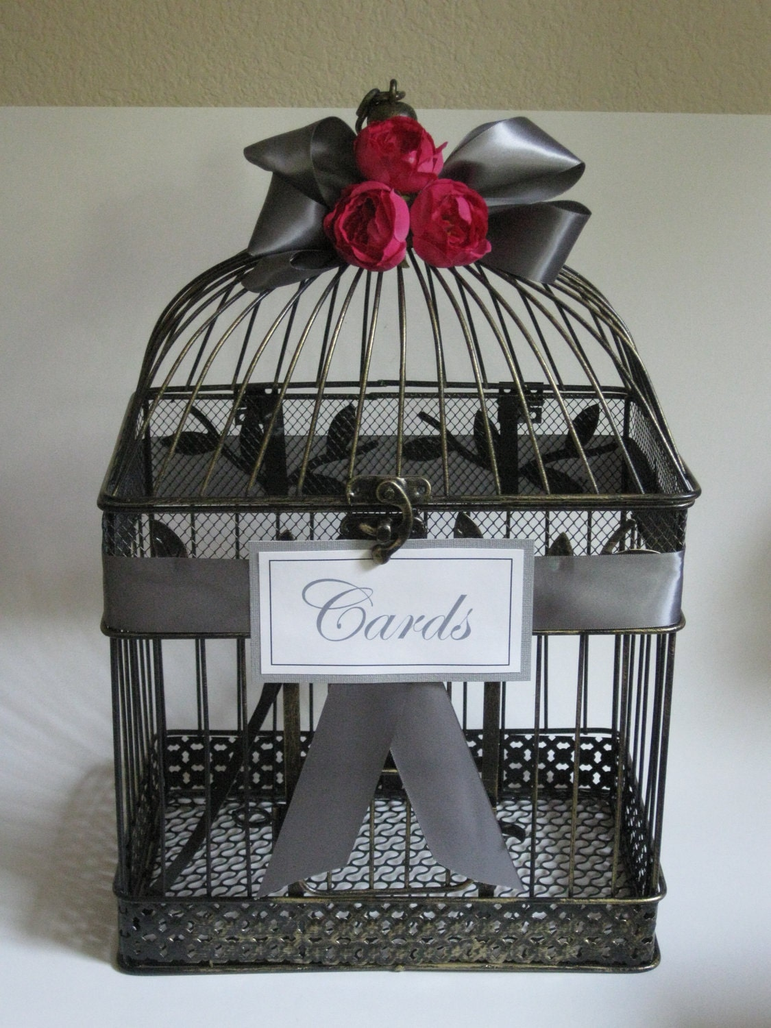 beautiful large vintage bird cage card holder or by kraftycounsel. Black Bedroom Furniture Sets. Home Design Ideas