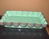 Vintage California Pottery Aborn G1 Shallow Textured Mint Green Bowl