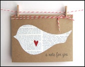 Christmas in July Sale - Greeting Card Set - Blank Notecards - Bird With Heart Cards