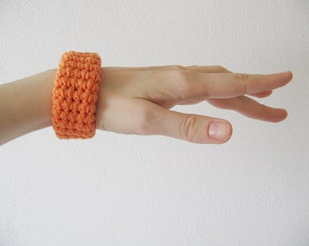 chunky crochet bracelet / bangle / cuff - orange