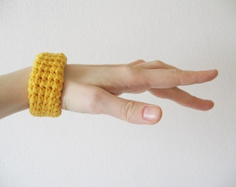 chunky crochet bracelet / bangle / cuff - yellow
