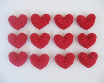 12 Crocheted Mini Hearts - 3D - Red