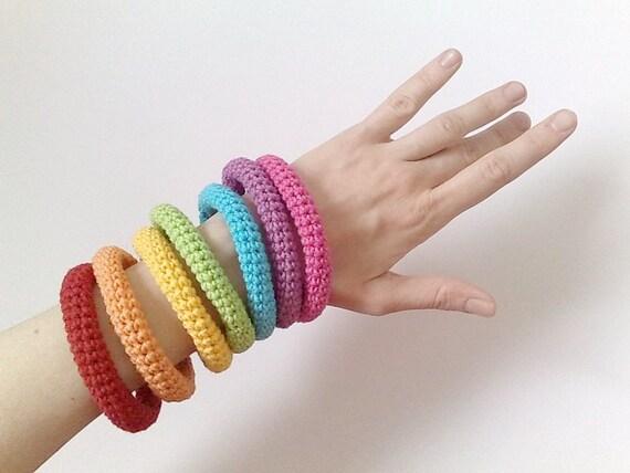 7 crochet bracelets rainbow neon - kawaii fashion